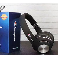 Champion New fashion letter print couple wireless bluetooth noise cancelling headphones headset Black