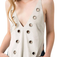 Grey Suedette V-Back Cami Top With Rivet Holes