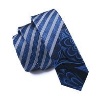 Mens Ties Silk Skinny Ties For Men Narrow Gravata Slim Tie Stripe Blue Necktie
