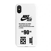 NIKE & Off White New fashion letter print couple protective cover phone case White
