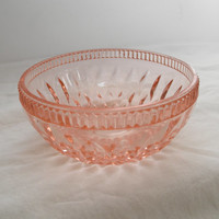 Vintage Pink Glass Berry Bowl French Country Home Decor Depression Pressed Glass