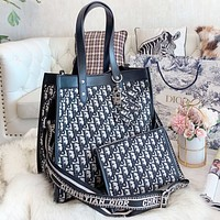 Dior Fashion New More Letter Print Leather Shoulder Bag Crossbody Bag Handbag Two Piece Suit