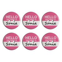 Sonia Hello My Name Is Plastic Resin Button Set of 6