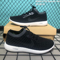 HCXX N155 Nike 2018 Zoom Free Flyknit Breathable Casual Running Shoes Sneaker Black White