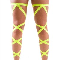 Pair of RaveReady UV Yellow Elastic Ribbon Leg Wraps : Rave Fluffies Wraps