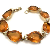Amber Rhinestone Bracelet, Seven Open Back Tear Drop Amber Stones, Ice Crystal Accents, Gold Tone Metal, Prom Wedding Vintage Gift for Her