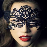 *[ETC]-Mardi Gras Halloween Lace Mask- Black
