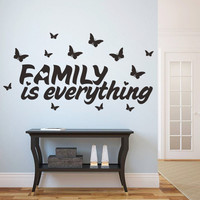 "Modern PVC Characters ""Family is everything"" Wall Stickers Home Decoration Butterfly Sticker Removable 32*61CM SM6"
