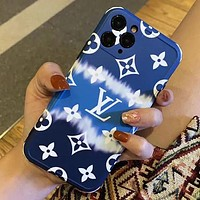 LV Louis Vuitton iPhone 11 Pro max mobile phone case all-inclusive soft shell beach couple mobile phone case Blue