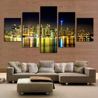 5 Piece canvas art city night painting canvas  modern wall art  wall pictures for living room home decoration