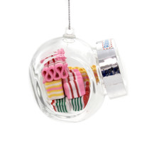Holiday Ornaments OLD FASHION CANDY JAR Glass Christmas A1722 Ribbon Candy