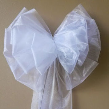 Large White Wedding Bow, Church Pew Bow, Wedding Pew Bow,  Bridal Shower Bow, Anniversary Bow, Wreath Stair Door Church Decoration