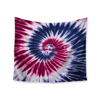 """Patriotic Swirl"" Red White Blue Trendy Boho Wall Tapestry"
