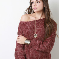 Off The Shoulder Melange Knit Sweater