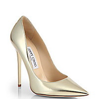 Jimmy Choo - Anouk Metallic Leather Point Toe Pumps - Saks Fifth Avenue Mobile