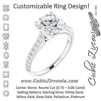 Cubic Zirconia Engagement Ring- The Diane (Customizable Cathedral-raised Round Cut Design with Accented Band and Infinity Symbol Trellis Decoration)