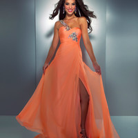 Mac Duggal Prom 2013- Melon Chiffon Gown One Shoulder Embellished Strap - Unique Vintage - Cocktail, Pinup, Holiday & Prom Dresses.