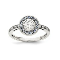 Sterling Silver Blue And White CZ Halo Ring