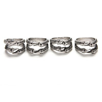 Silver Color Dragon Claw Ring Men US Size 8-11 Punk Rock Stainless Steel Mens Biker Rings Vintage Gothic Jewelry