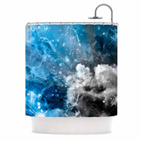 """Shirlei Patricia Muniz """"We Are Waiting For.."""" Blue Abstract Shower Curtain"""
