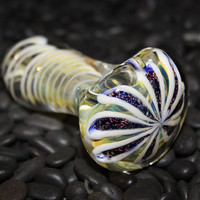 Thick White Flower Dichro Glass Pipe