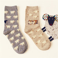 2 Pair/lot  New Caramella Lovely Fashion Cartoon Sheep Cotton Color Socks For Women Creative Cute Girls Female Soft  Mieas