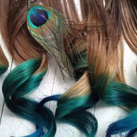 Peacock Ombre Hair Extensions | ombrehair ArtFire Gallery