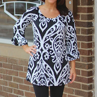 Black and White Damask Tunic Top w 3/4 Length Ruffle Sleeves