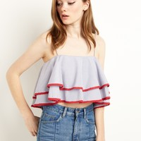 BLUE AND RED RUFFLED OFF THE SHOULDER CROP TOP