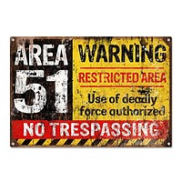 Area 51 No Trespassing  Sign Home Decor