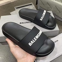 Balenciaga new letter logo simple men's and women's outer slippers Shoes Black
