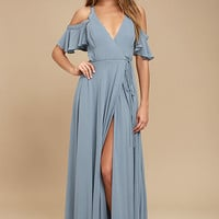 Easy Listening Slate Blue Off-the-Shoulder Wrap Maxi Dress