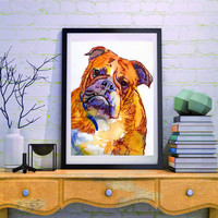 British Bulldog art print from original watercolor Painting,Orange Lilac wall art Print Bull dog gift idea hand signed English bull dog