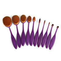 Purple Professional 10 PC Makeup Soft Oval Foundation Contour Cream Brush Set