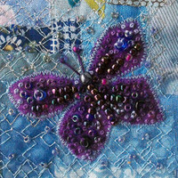 Purple beaded butterfly - fabric art card - patchwork card  - handmade card - blue patchwork - 5 inch square card - blank inside