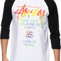 Stussy Tie Dye World Tour White & Black Baseball Tee Shirt