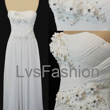 Strapless Sweetheart with Flowers Long Chiffon Prom Dresses, Party Dresses, Evening Dresses, Evening Gown