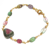 Watermelon Tourmaline Slice Bracelet Rainbow Tourmaline Station Gemstone Jewelry