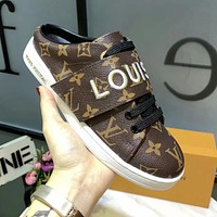 LV Louis Vuitton Vintage Trending Women Casual Sport Shoes Slippers Coffee