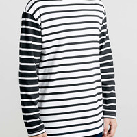 WHITE AND BLACK CONTRAST STRIPE LONG SLEEVE T-SHIRT - Men's Long Sleeve T-Shirts - Clothing - TOPMAN USA