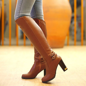 knee boots women fashion snow winter footwear high heel shoes sexy warm half boot EUR size 34-43 = 1946877316