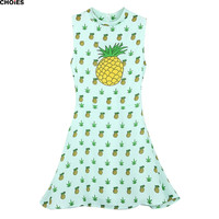 Women Green Turtleneck High Waist Pineapples Print Sleeveless A Line Dress 2016 Spring Summer Casual Cute Pleated Mini Clothing