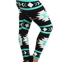 Mint Navajo Print Leggings (Plus Size)