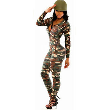 2016 Hot Europen Celebrity Sexy Jumpsuit Women Rompers Renda The Army Soldier Catsuit Long Sleeve Bodycon Playsuit Overall Plus