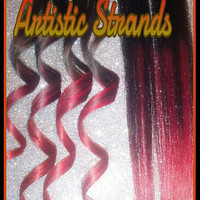 Cuticle Remy Human Hair Extensions / Red Ombre / Tri-Colored / 18-20 Inches Long / Clip In Set / Full Set