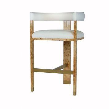 Connery Burl Wood Accent Bar Stool by Worlds Away