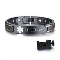 Medical Alert ID Bracelets EPILEPSY Mens Bracelets Black Stainless Steel with Magnets Pain Relief Energy Emergency Reminder Personalized Jewelry FREE SHIPPING