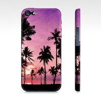 Pretty Pink Ocean Sunset & Palm Trees Iphone 5 Case - Premium Slim Fit Iphone 5 Cover - Also Available for Iphone 4/4s and Galaxy S3