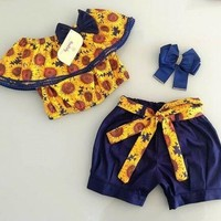 USA Toddler Kid Baby Girls Sunflower Off Shoulder Tops Pants Shorts Outfits Set