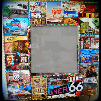 Route 66 Wall Mirror Kitsch Art Travel Art Americana Highway Sign Hotel Signs Colorful Art Decorative Mirror CUSTOM MADE